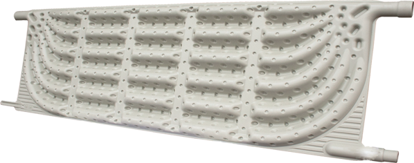 Optimisation du flux grâce aux picots présents à l'intérieur de la paroi et augmentation du contact du fluide caloporteur avec la paroi extérieure de l'absorbeur
